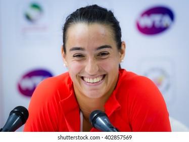 DUBAI, UNITED ARAB EMIRATES - FEBRUARY 18 : Caroline Garcia talks to the media at the 2016 Dubai Duty Free Tennis Championships