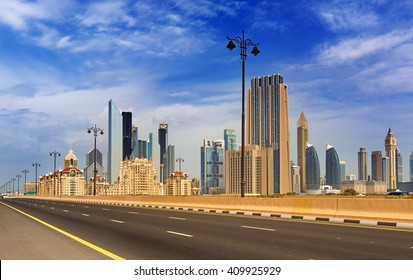 DUBAI, UNITED ARAB EMIRATES - FEBRUARY 29, 2016: View on skyscrapers in Financial center of Dubai next to Shaek Zayed road ,Dubai,United Arab Emirates