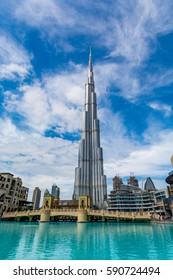 Dubai, United Arab Emirates - February 6 - View of Burj Khalifa on a beautiful day on February 6, 2017.