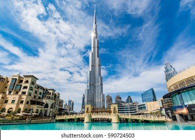 Dubai, United Arab Emirates - February 6 - View of Burj Khalifa on a beautiful day with sun reflection on February 6, 2017.