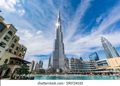 Dubai, United Arab Emirates - February 6 - View of Burj Khalifa on a beautiful day with sun reflecting from it on February 6, 2017.