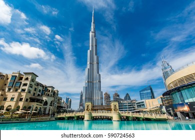 Dubai, United Arab Emirates - February 6 - View of Burj Khalifa on a beautiful day on February 6, 2017.