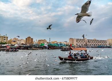 Dubai, United Arab Emirates - February 11, 2017 - View of Dubai Creek with seagulls and abra boats