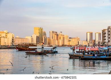 Dubai, United Arab Emirates - February 6, 2017 - View of Dubai creek at sunset, Deira district