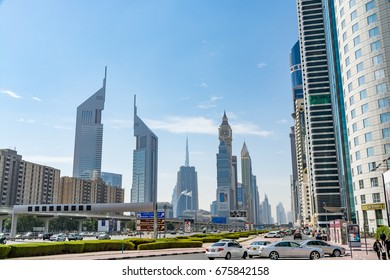 Dubai, United Arab Emirates - February 8, 2017 - View of the skyscrapers along Sheikh Zayed Road - including the Emirates Towers and Dubai International Financial Centre