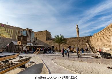 Dubai, United Arab Emirates - February 6, 2017 - View of the Dubai museum inside an old fort - Al Fahidi historical district