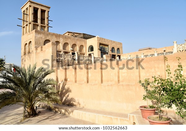 Dubai, United Arab Emirates, February 23, 2018, the Al Fahidi Historical and Dubai Old Souq Neighbourhood, one of the oldest part of city and perfect tourist attraction, from the mid 19th century.