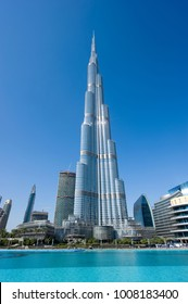 DUBAI, UNITED ARAB EMIRATES - JAN 02, 2018: The Burj Khalifa in the center of Dubai is the tallest building in the world with 828 meters high.