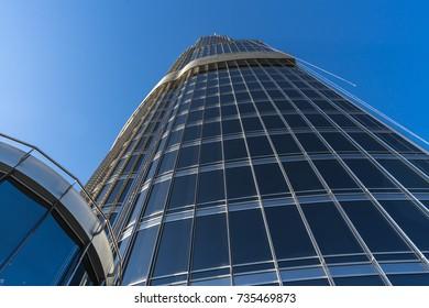 DUBAI, UNITED ARAB EMIRATES - JAN 7, 2017: The top of Burj Khalifa, the tallest building in the wolrd