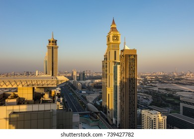 DUBAI, UNITED ARAB EMIRATES - JAN 6, 2017: Sheikh Zayed road seen from downtown Dubai skyscraper