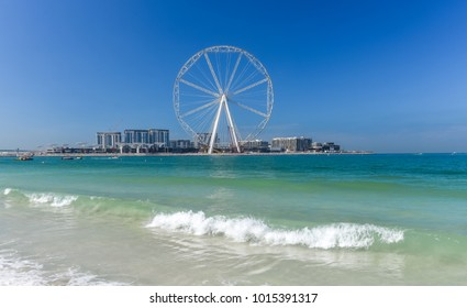 Dubai, United Arab Emirates - January 12, 2018: View of  Dubai Ferris Wheel from Jumeirah Beach Residence JBR.