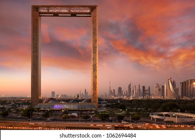 Dubai, United Arab Emirates, January 13th, 2018: Dubai Frame building at sunrise
