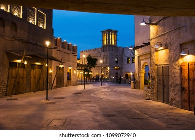 DUBAI, UNITED ARAB EMIRATES - JANUARY 30, 2018: Al Fahidi Historical neighborhood at dusk, a historic district in Dubai, United Arab Emirates (UAE)