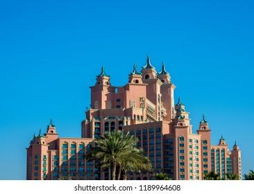 DUBAI, UNITED ARAB EMIRATES - JANUARY 12, 2018: Atlantis The Palm Luxury Hotel, Palm Jumeirah artificial island.
