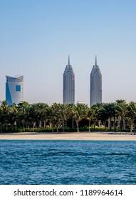 DUBAI, UNITED ARAB EMIRATES - JANUARY 07, 2018: Al Kazim Twin Towers, Dubai Internet City.