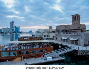 DUBAI, UNITED ARAB EMIRATES - JANUARY 05, 2018: Al Bastakiya Historical Neighborhood and Dubai Creek at dawn.