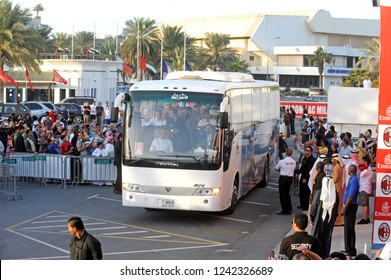 DUBAI, UNITED ARAB EMIRATES: JANUARY 03, 2008: soccer fans waiting for AC Milan's football team arriving with the team bus at the Al Nasr soccer stadium, in Dubai.