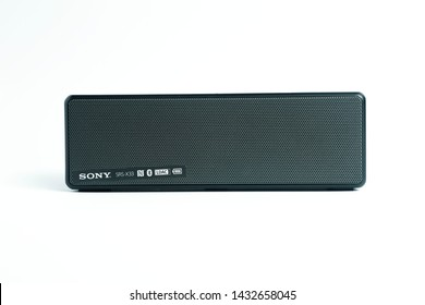 Dubai / United Arab Emirates - January 19 2019: Sony Bluetooth speaker SRS X33 in Dubai city. Sony brand name is a manufacturer of electronic devices and appliances in Japan.