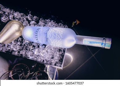 Dubai, United Arab Emirates, January 2020 - Bottle of Belvedere Vodka in ice bucket