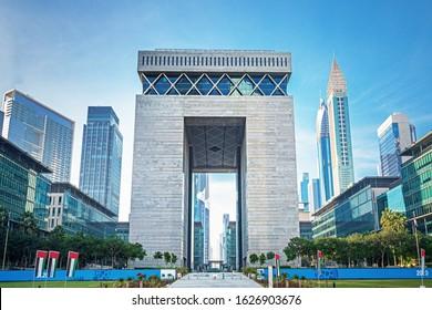 DUBAI ,UNITED ARAB EMIRATES - JANUARY 1, 2020: Dubai city Financial center district DIFC, United Arab Emirates