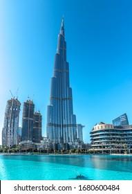 Dubai, United Arab Emirates - January 2020: Burj Khalifa and the clear blue skies.