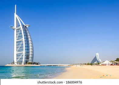 Dubai, United Arab Emirates - January 08, 2012: View of Burj Al Arab hotel from the Jumeirah beach. Burj Al Arab is one of the Dubai landmark, and one of the world's most luxurious hotels with 7 stars