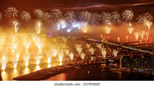DUBAI, UNITED ARAB EMIRATES -JANUARY 1, 2014: The World's Largest Firework Show displayed on Dubai's Palm Jumeirah
