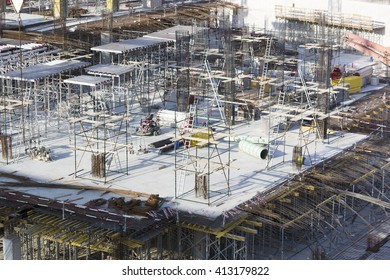 DUBAI, UNITED ARAB EMIRATES - JANUARY 7: View of a skyscraper under construction with workers in Dubai. United Arab Emirates 2016