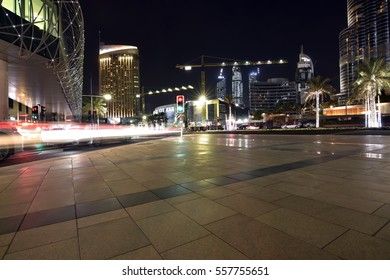 Dubai, United Arab Emirates - January 15, 2017: Sheikh Mohammed Bin Rashid Boulevard near Dubai Mall and Burj Khalifa the tallest man made Building in the world