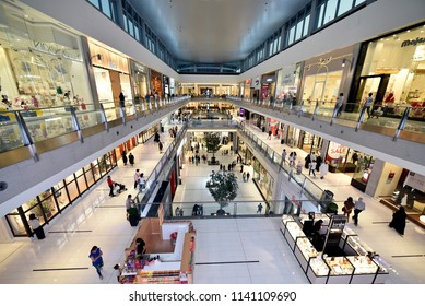 Dubai, United Arab Emirates – July 23, 2018, The Dubai Mall located in Downtown Dubai, beside the Burj Kalifa, biggest Mall In UAE, With a total internal floor area of 5.9 million sq ft.