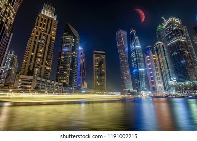 Dubai, United Arab Emirates - July 26, 2018: Dubai Marina at the JLT skyscraper on July 26, 2018. In Dubai, United Arab Emirates Dubai Marina is a 3 km canal built along the coast of the Persian Gulf.