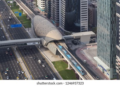 Dubai, United Arab Emirates - July 20, 2018: Aerial view of the Financial Centre metro station