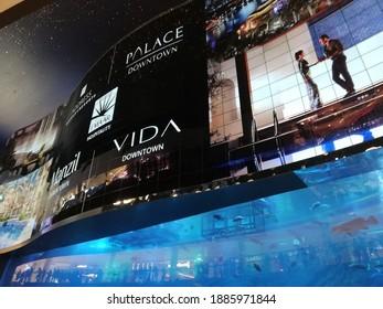 Dubai, United Arab Emirates, July 20, 2018 - Dubai Aquarium inside Dubai Shopping Mall; Digital Advertisiments