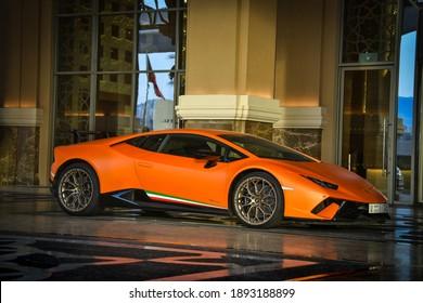 Dubai, United Arab Emirates, Jun 8, 2018, Orange Lamborghini Huracan SV Sports car