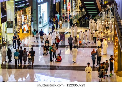 DUBAI, UNITED ARAB EMIRATES - JUNE 24, 2016: Interior view of Dubai Mall - world's largest shopping mall based on total area and it was the most visited building on the planet (in 2011).
