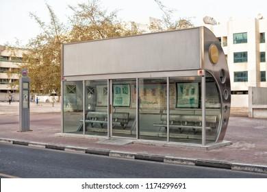 Dubai, United Arab Emirates, June 9, 2013: Exterior of airconditioned bus stop shelter in Dubai