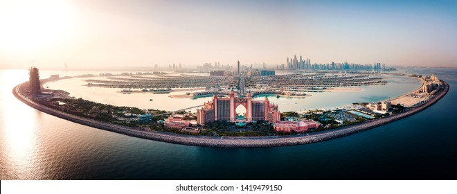 Dubai, United Arab Emirates - June 5, 2019: Atlantis hotel and the whole Palm island background in Dubai aerial view