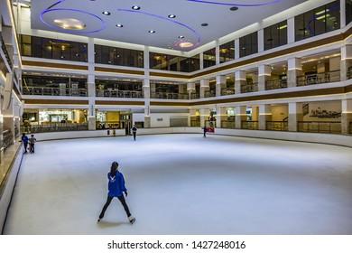 DUBAI, UNITED ARAB EMIRATES - JUNE 24, 2016: Hyatt Regency Dubai - iconic 5 star hotel (421 elegant rooms & suites) located in heritage area Deira, Dubai historic district. Ice rink.