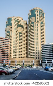 DUBAI, UNITED ARAB EMIRATES - JUNE 26, 2016: High raise Buildings in Dubai. Dubai is most populous city and emirate in UAE, and second largest emirate by territorial size after capital - Abu Dhabi.