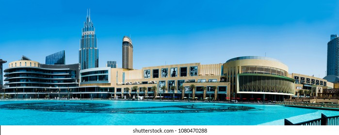 Dubai, United Arab Emirates - March 26, 2018: Dubai mall modern architecture with fountain panorama at day time