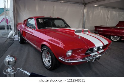 Dubai, United Arab emirates – March 25 : Red ford mustang Shelby GT500 Eleanor on 25/03/2016 in Dubai