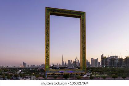 Dubai, United Arab Emirates, March, 18 2019. Dubai Skyline and Dubai Frame