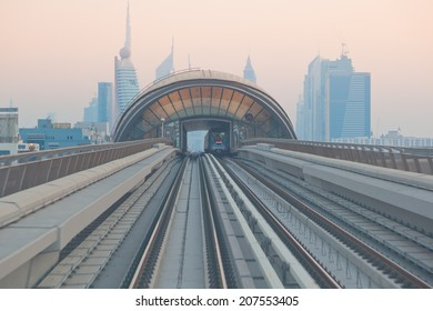 DUBAI, UNITED ARAB EMIRATES - March 21: View of Dubai Metro, on March 21, 2011. Metro Trains operate in fully automatic mode without any drivers.