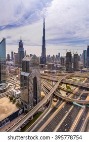 DUBAI, UNITED ARAB EMIRATES - MARCH 4, 2016: Sheikh Zayed road, Burj Khalifa and luxury skyscrapers in Dubai downtown,United Arab Emirates