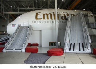 DUBAI, UNITED ARAB EMIRATES – MARCH 2 2015: The Emirates cabin crew training centre in Dubai prepares to welcome cabin crew members for aircraft evacuation training.