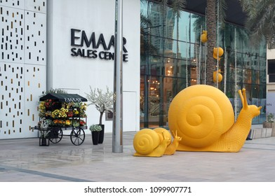 Dubai, United Arab Emirates - May  09, 2018: The central entrance to the country's largest shopping  market  Emaar group.  Brand was founded and incorporated in 1997