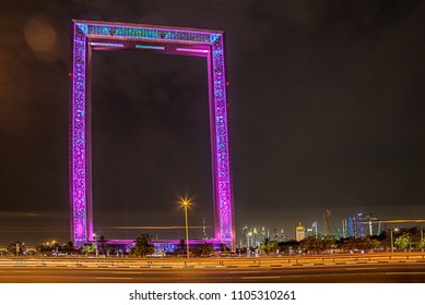 Dubai, United Arab Emirates, May 26, 2018: Dubai Frame building at night, new UAE attraction. The frame measures 150 meters high and 93 meters wide.