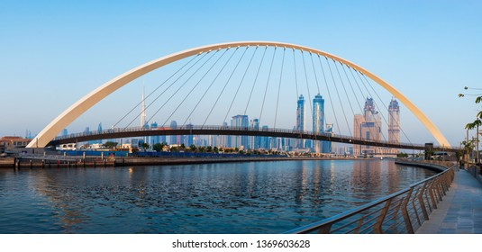 Dubai, United Arab Emirates - May 31, 2018: Panoramic view of Dubai from the water canal in the uae