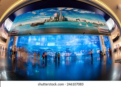 DUBAI, UNITED ARAB EMIRATES - MAY 2: Dubai Aquarium and Under Water Zoo in the shopping mall's interior in Dubai on May 2, 2012. The Dubai Mall is the world's largest shopping mall.