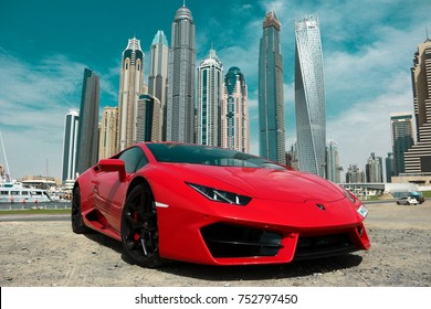 Dubai, United Arab Emirates -  May 8, 2017. Red Lamborghini Huracan in Dubai Marina